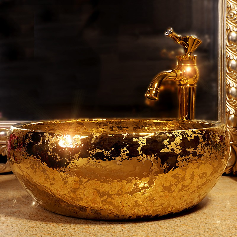 Stately gold color art porcelain ceramic bathroom sinks