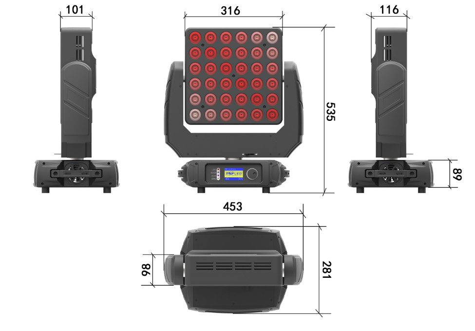 Pixel mapping effect 36x10W 4in1 RGBW 6x6 Matrix Pixel Moving Head light in stage lighting
