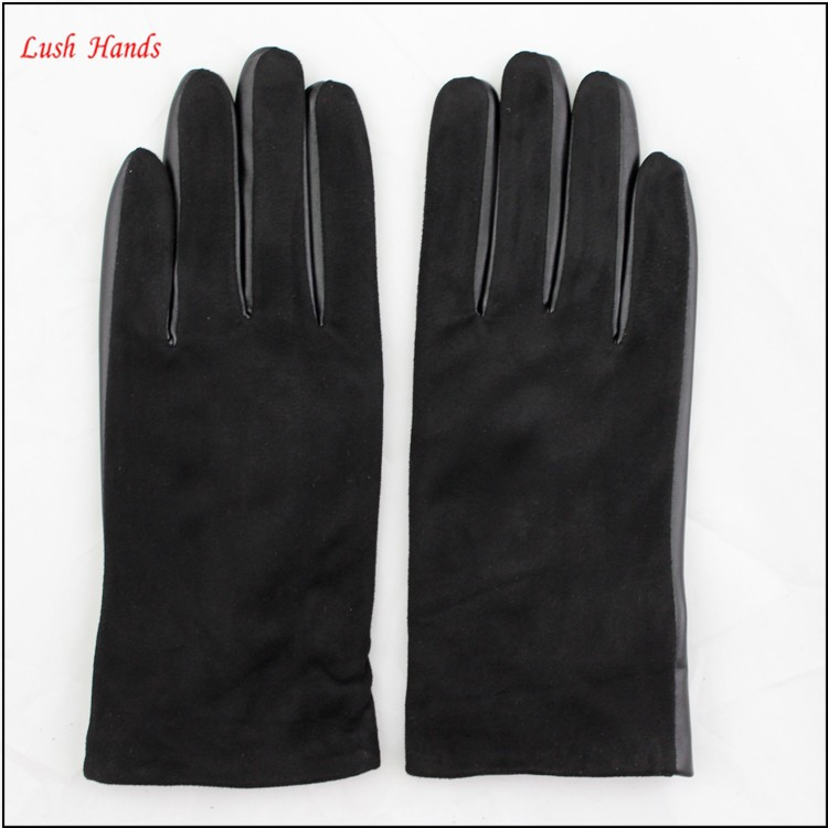New design beautiful black suede sheepskin leather gloves for girls