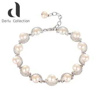 Custom Pure Silver Bead Pearl Bracelets