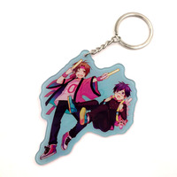 Custom Clear Transparent Printed Acrylic Anime Keychain Charms with Key Ring