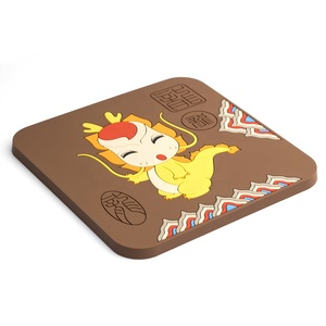 Custom cute cartoon soft PVC rubber square coaster