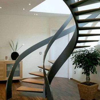 Interior Dedicated Solid Wood Step Staircase Curved Floating Stairs