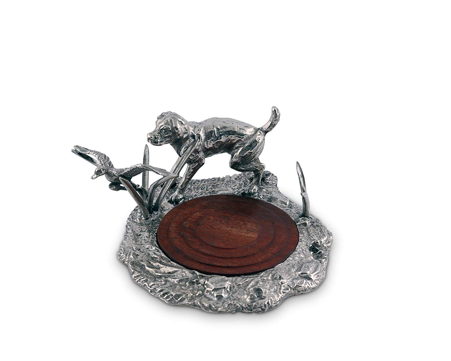 """Vagabond House Pewter Hunting Labrador and Duck Wine Coaster 5"""" Wide x 6.5"""" Tall"""