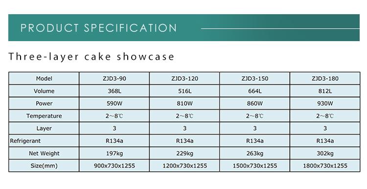 Good price /cake cooler display showcase cake corner glass display cabinet