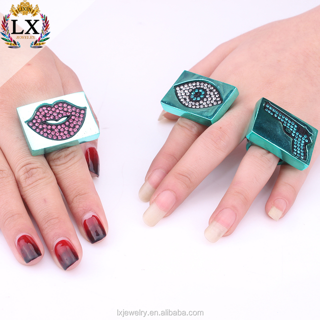 RLX-00147latest wholesale personal square rings set lip gun jewelry ring evil eye colorful rhinestone ring for women