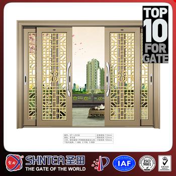 Grill Pattern Double Glass Sliding Doors Buy Double Glass Door