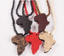 Africa map wood pendant necklace new fashion personality 4 colors map necklace for men trendy wood beads chain jewelry