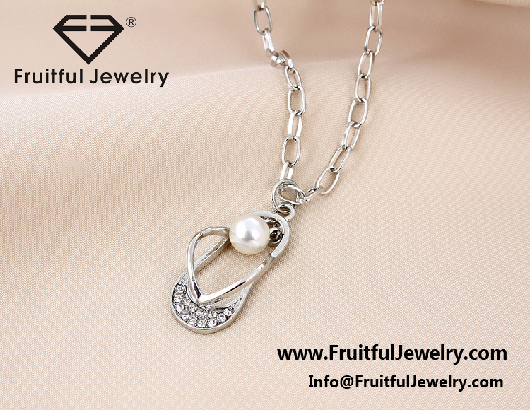 Fashion sea life beach pearl pendant flip flop slipper crystal view larger image aloadofball Image collections