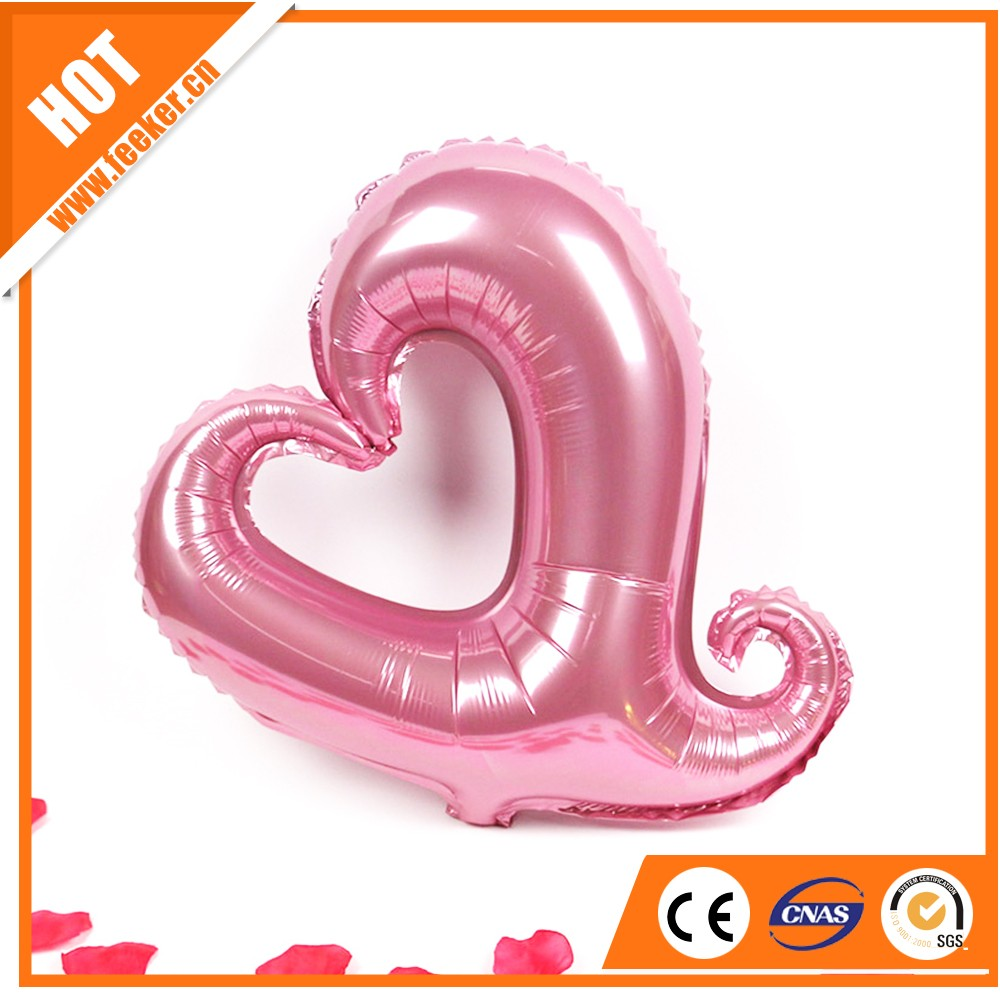 2016 New Design EN71 custom foil hollow heart shaped balloons for decoration