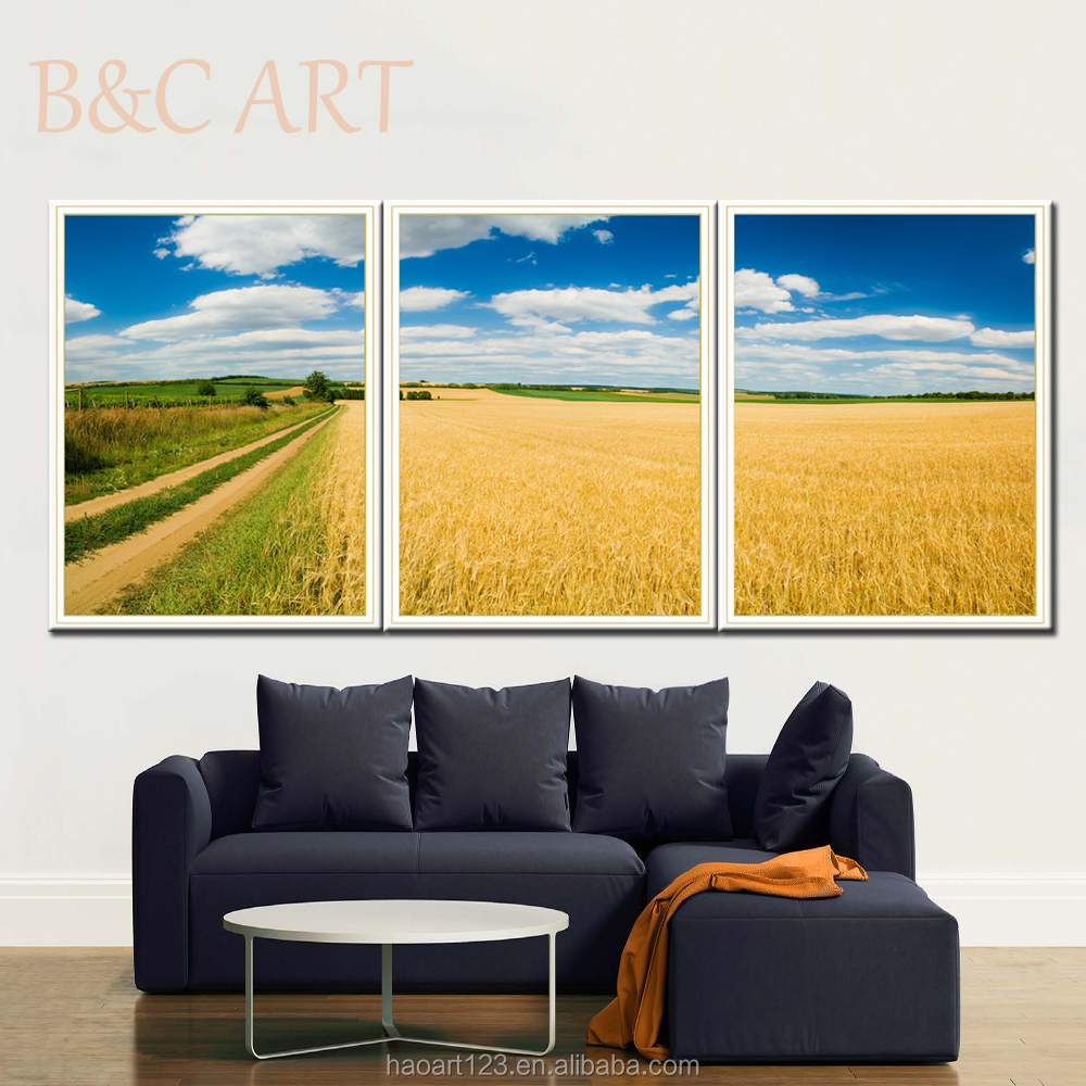 handmade modern art paintings 3 panels on canvas print yellow field