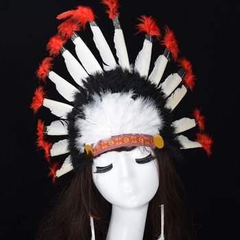 Indian headband cosplay emirates headdress Black and white and red Indian  hat d662a6c5c83