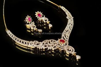 Indian Cubic Zircon Bridal Jewelry Imitation Jewellery Whole American Diamond Necklace Set Cz Bollywood Heavy