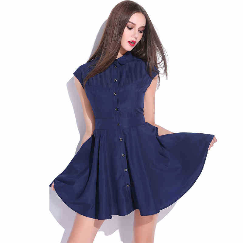 Get Quotations · Plus Size Women Clothing Solid Dress 2015 New Fashion  Turn-down Collar with Buttons Sleeveless 3325d5bd8c40