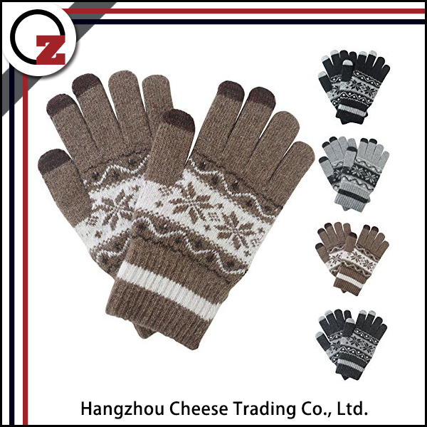 Fashion knitted funky winter touch screen gloves for wholesale