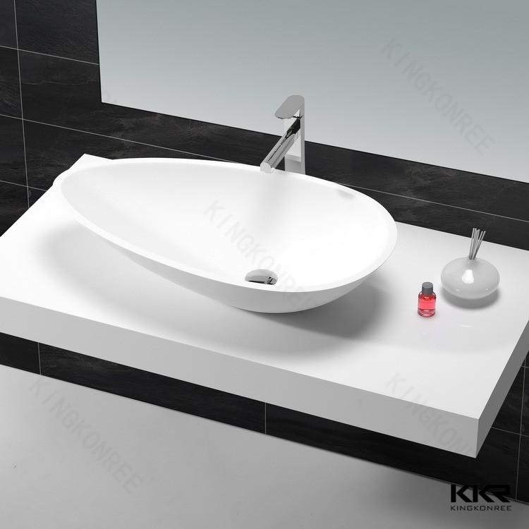 KKR Leaf Shape Vessel Sink , Long Bathroom Sinks With Two Faucets