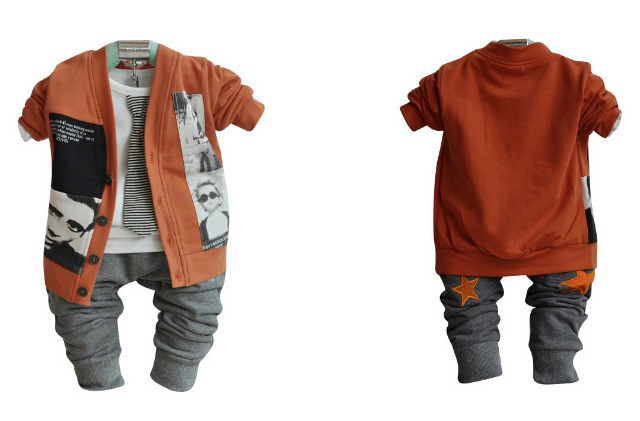 sport suit 2015 baby children clothing set kids clothes solid cartoon baby boys clothes coat t-shirt pants 3 pieces set