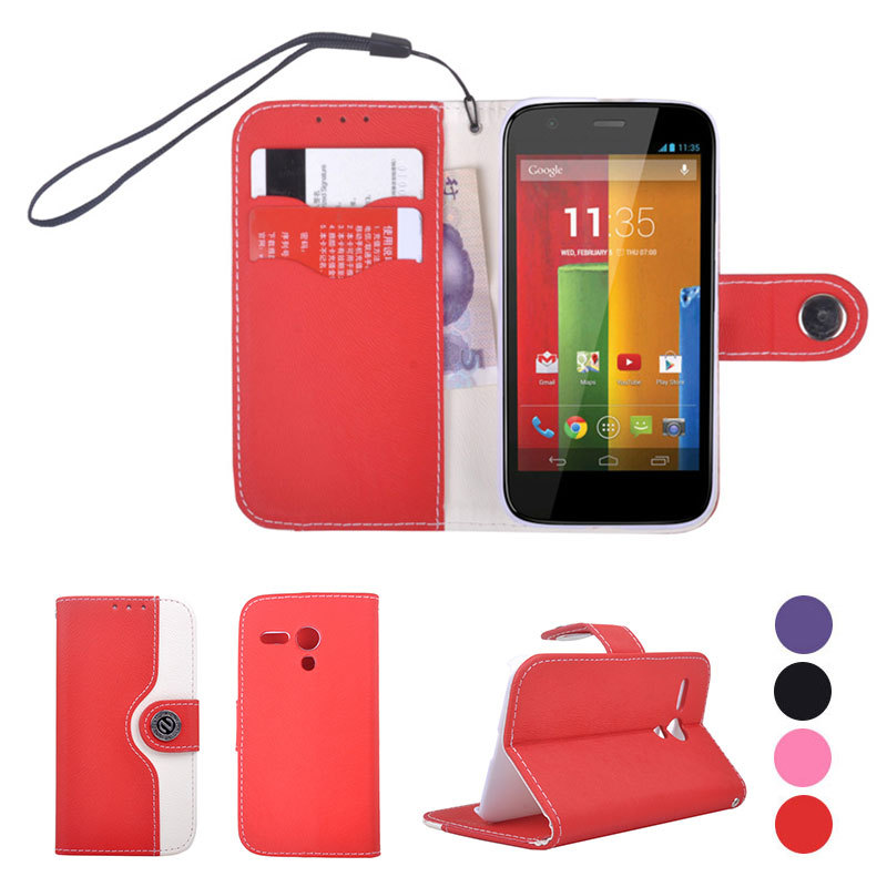 Fashion Dual Color Magnetic Flip Leather Wallet+Card Holders Stand Strap Case For Motorola Moto G1 XT1028 XT1031 XT1032 1nd Gen