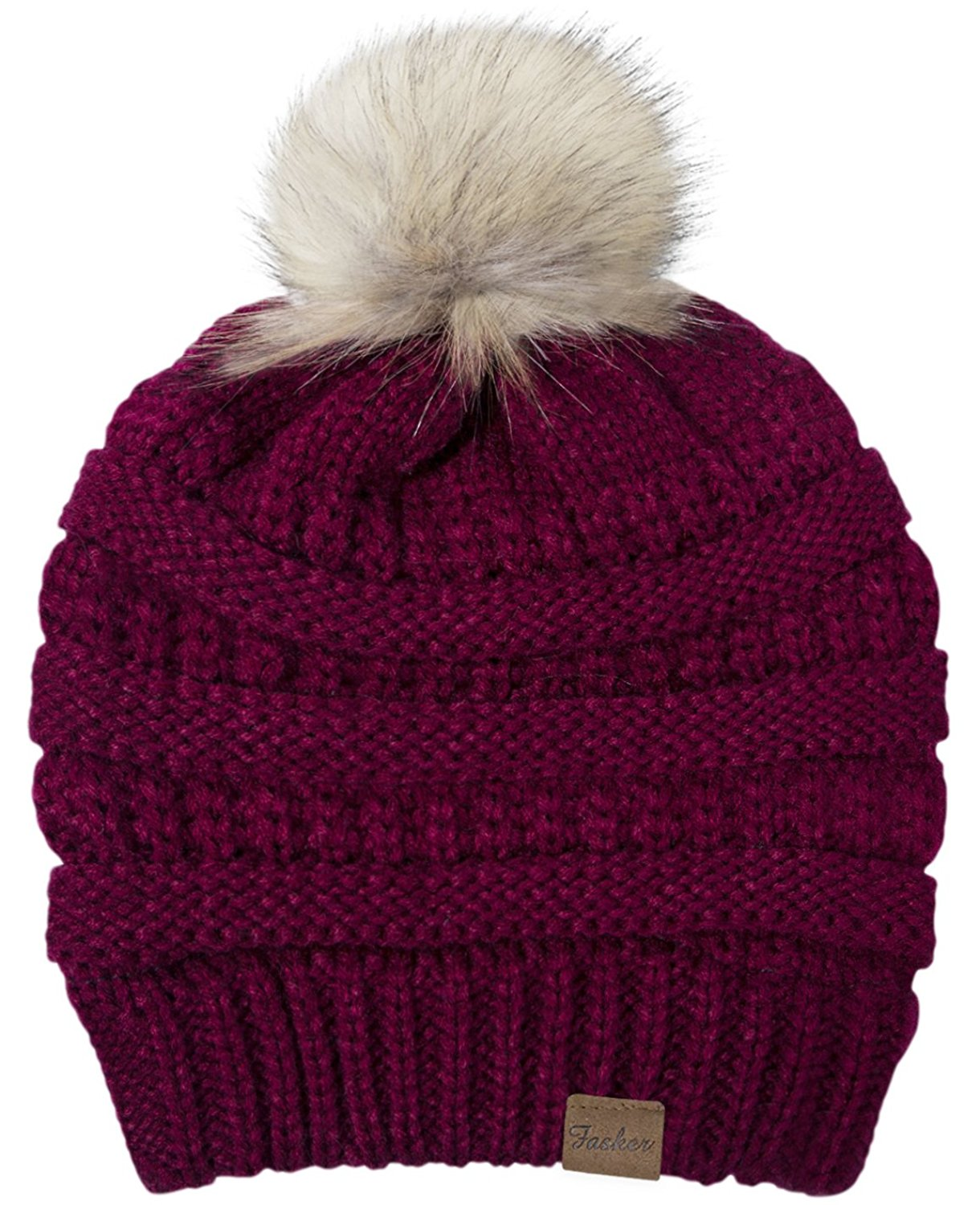599241df3c491a Get Quotations · Fasker Womens CC Style Beanie Hat Winter Cable Knit  Slouchy Pom Pom Beanie Hat