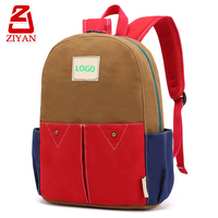 China factory kindergarten cheap student book bags logo custom contrast color new fashion canvas backpack school bag for kids