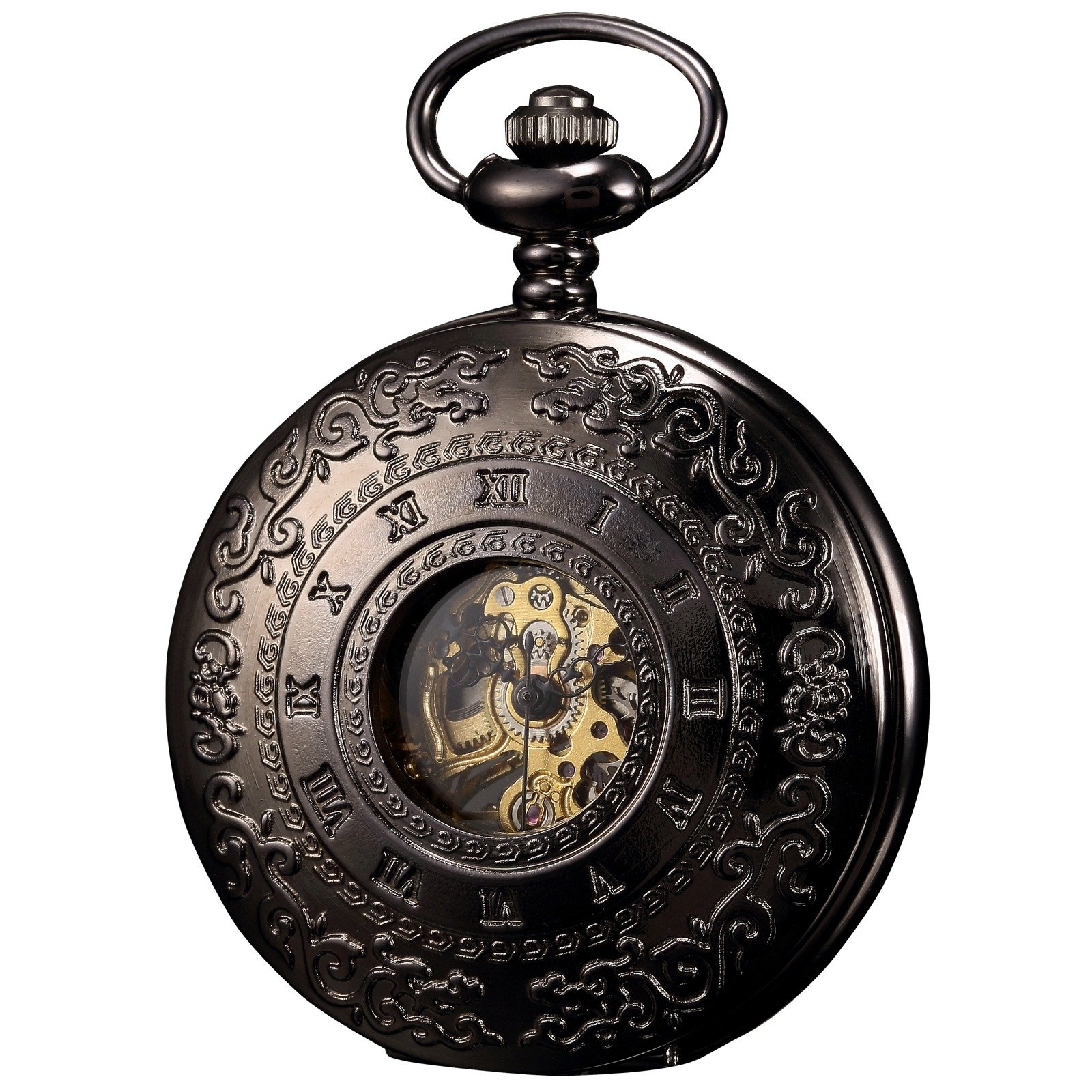 ++CANALOHA:)++ KS Half Hunter Black Engraving Case Men's Gift Pocket Watch with Chain