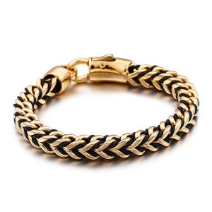 AFXSION Korean fashion retro leather braided rope titanium steel bangles men's 18k gold stainless steel bracelet