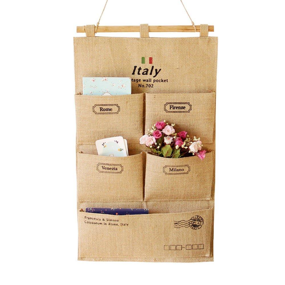 Get Quotations · He Spend Linen/Cotton Fabric Wall Door Closet Hanging  Storage Bag Organizer Hanging Shelves (