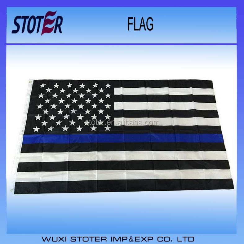 100% Polyester Custom Promotional Thin Blue Line flag/American Police Flag