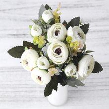 Европейская винтажная чайная роза из искусственного шелка, 6 головок, 4 маленьких бутона, букет для свадьбы, дома, ретро, искусственные цветы,...(Китай)