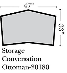 Omnia Leather Benjamin Storage Conversation Ottoman in Leather, with Nail Head, Softstations Swiss Coffee
