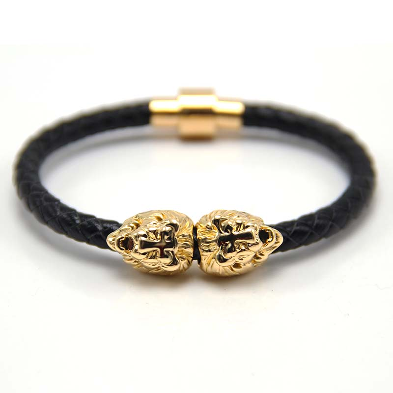 Us 2 14 31 Off Silver Gold Lion Head Cool Bracelet Men And Women Braided Leather Bracelets Whole Hot Ing In Charm