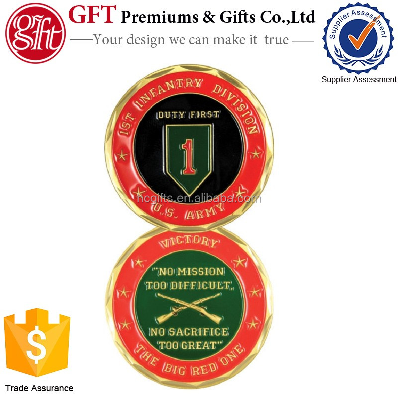 Free artwork and quote custom design color two sides 1st Infantry Division Challenge Coin