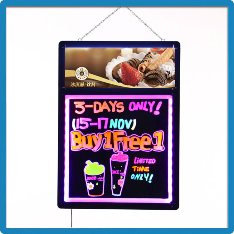 High quality 60cmx80cm acrylic panel illuminated display led writing board 2015 with light box