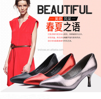 2017 Luxury fashion dress shoes leather women pencil high heel shoes for ladies