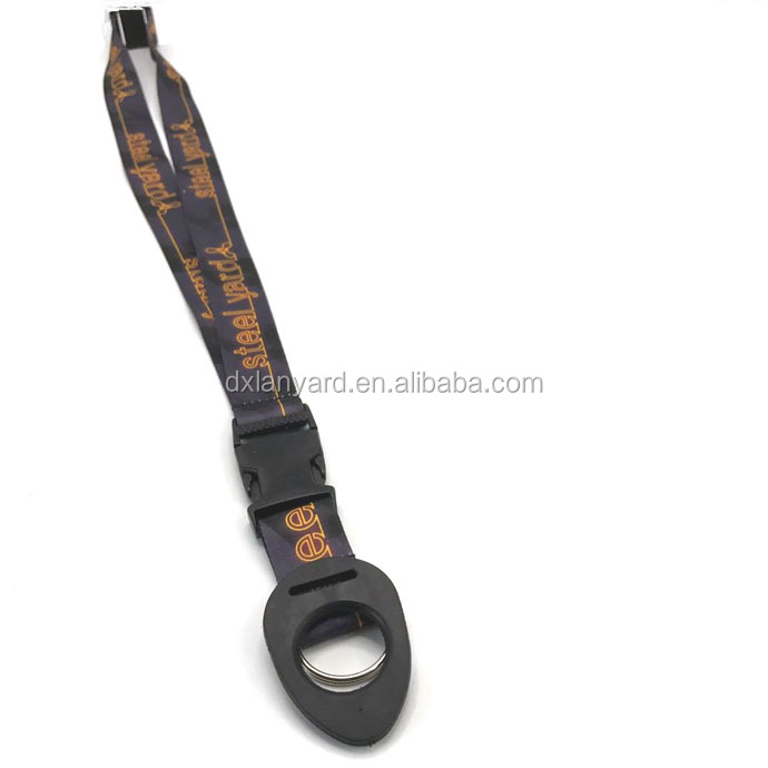 Cheap price polyester screen printing water bottle holder lanyard with ring