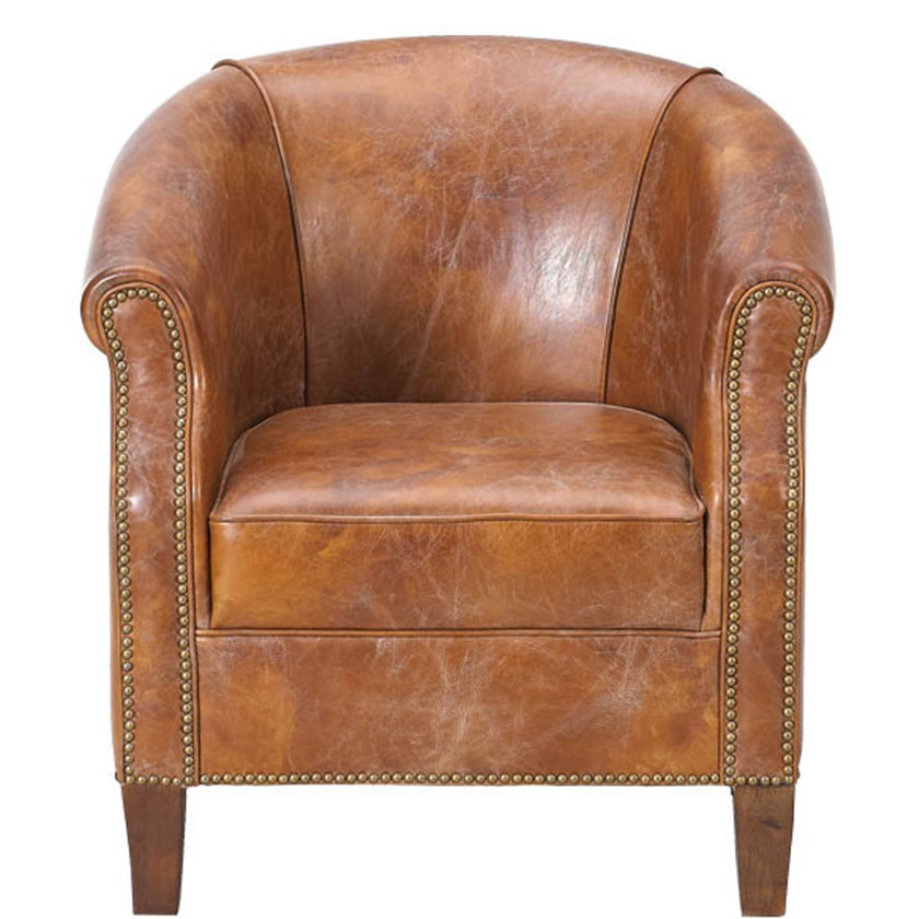 American Vintage Leather Tub Chair
