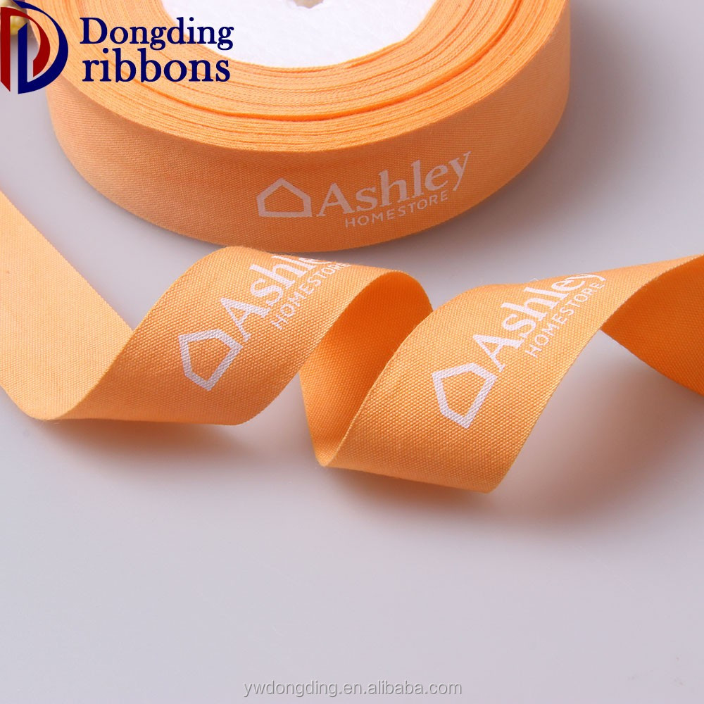 "Wholesale custom logo 1-1/2 "" inch orange double face printed 100% cotton woven tape ribbon for garment accessories"