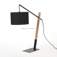 modern Black iron wooden table lamp fabric shade desk lamp reading lamp
