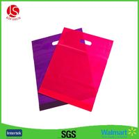 Reusable trapezoid shaped Merchandise Bags Plastic shopping bag with soft loop handle