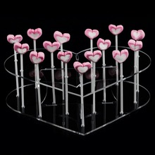 Made In China Clear 15 Gaten Hart Vorm Acryl Lolly Display Hoge Kwaliteit Kleine Snoep Display Stand Rack