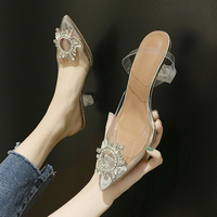 Fashion High Quality Elegant Rhinestone Crystal Rhinestone Jelly Wedding Dress Party High Heel Shoes for Women and Ladies