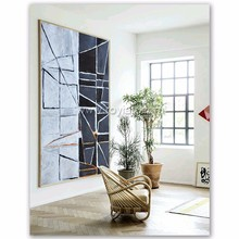 Modern style canvas abstract black and white oil painting for wall art home decoration