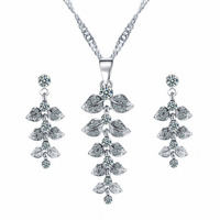 2016 new fashion korea crystal earring and chain necklace set 3pcs women's silver cheap jewellery