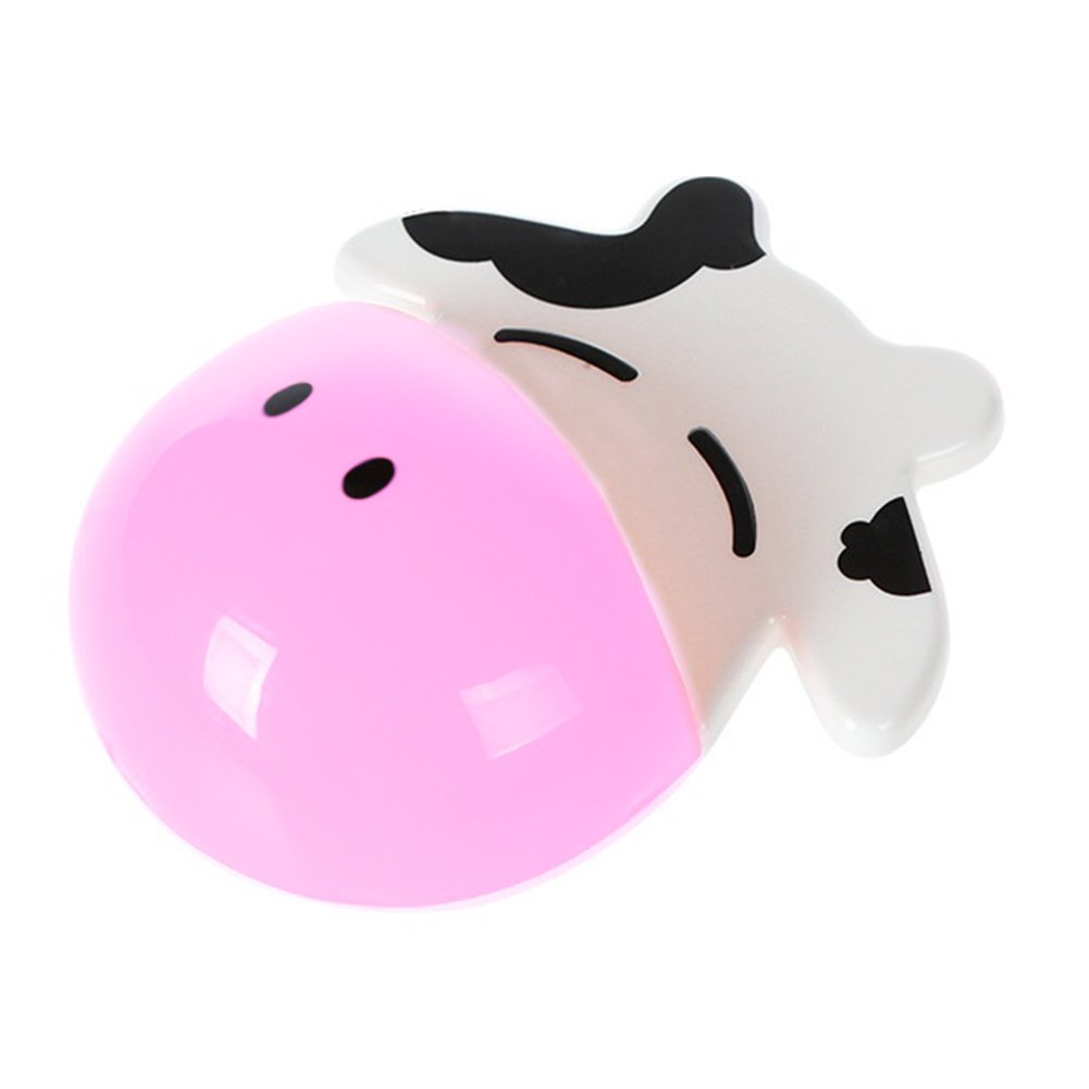 "Slendima Lovely Wall Mounted Cartoon Cow Toothbrush Holder with 3 Strong Suctions Cups Bathroom Convenient Storage Tools - 6.22"" x 4.65"" Pink"