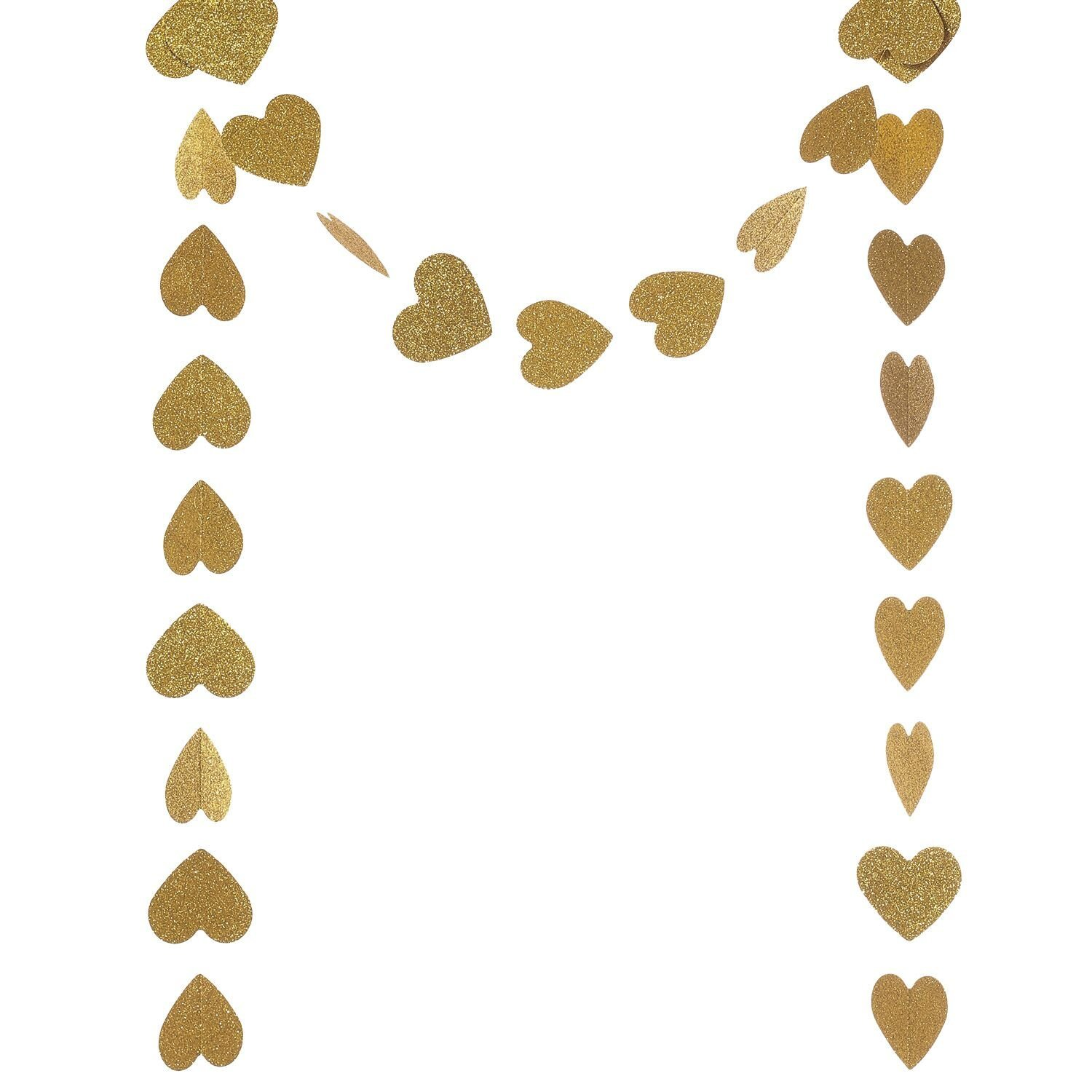 Ling's moment Paper Heart Garland (Gold Glitter), Hearts Hanging Decorations for Wedding, Baby Shower, Festival Items & Party Props, 8.5 Feet Long