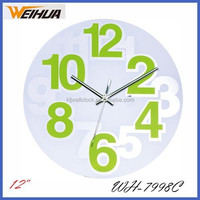 12 inch round clear glass wall clock