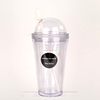 Mlife 2016 summer newest popular design 16oz clear AS plastic double wall straw cup with straw and dome cap ,PP handle for carry