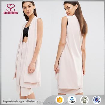 4cba8c14f8b8b Vogue open front pale pink longline cut women casual vest tall sleeveless  blazer sex