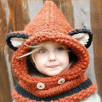 Baby Girls Kids Grey Fox Shaped Warm Knit Cap Winter Hat with Scarf supplier 8db402191a6