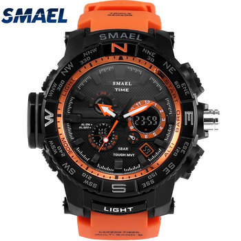 SMAEL 1531 Fashion Casual Sport Watch LED Colorful Outdoor 5ATM water resistant Young People Black Silicone Digital Wrist Watch